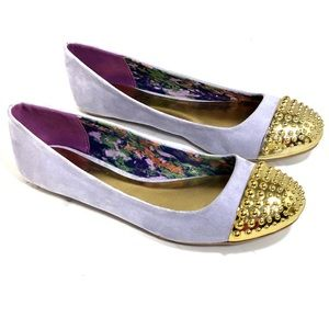 Qupid lavender & gold studded flats 7.5